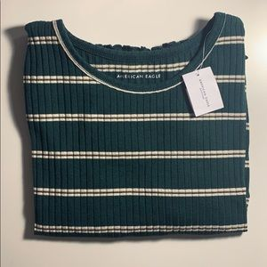 American Eagle Striped Ribbed Top (Green)